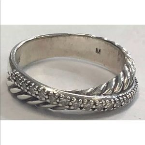 David Yurman Crossover ring with diamonds 6.5